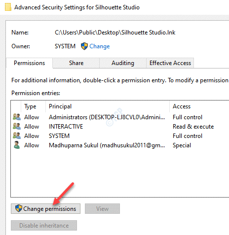 Advanced Security Settings Permissions Change Permissions