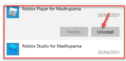 Apps & Features Roblox Player And Roblox Studio Uninstall