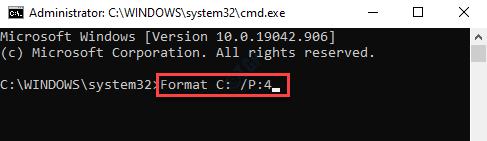 Command Prompt (admin) Run Format Command Enter