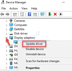 Device Manager Display Adapters Graphics Card Right Click Update Driver