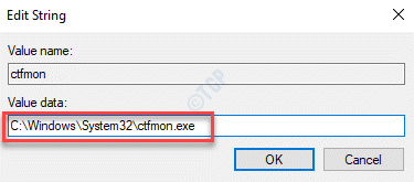 Edit String Value Data Set Value To Ctfmon.exe Path Ok