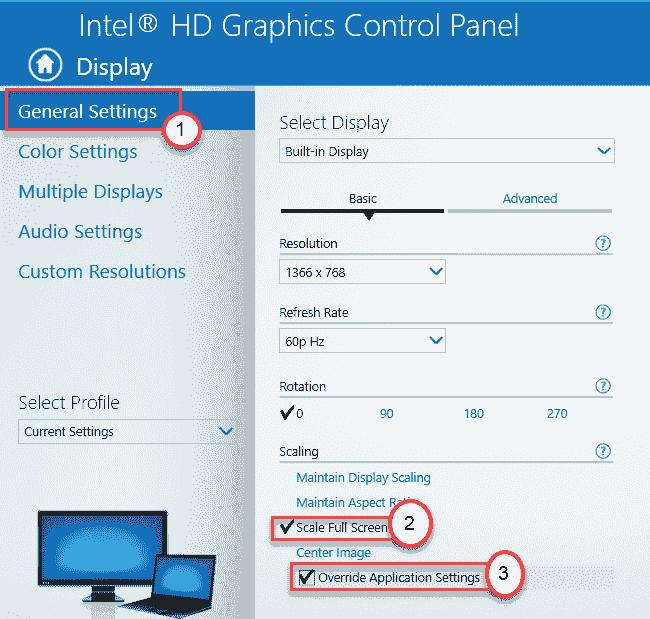 Intel Scale Full Screen Min