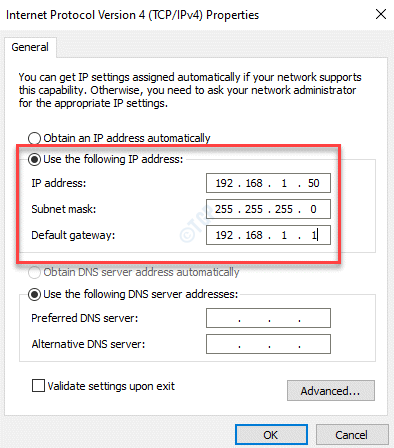 Internet Protocol Version 4 Properties Use The Following Ip Address