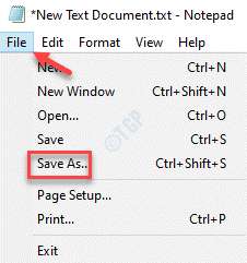 New Text Document File Tab Save As