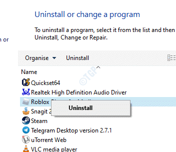 Programs And Features Uninstall Or Change A Program Roblox Right Click Uninstall