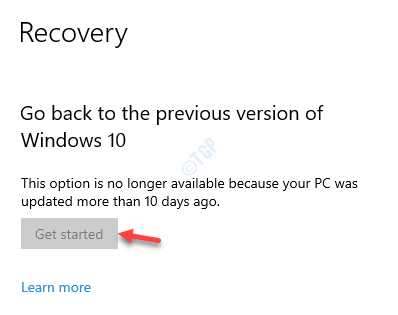 Recovery Go Back To The Previous Version Of Windows 10 Get Started