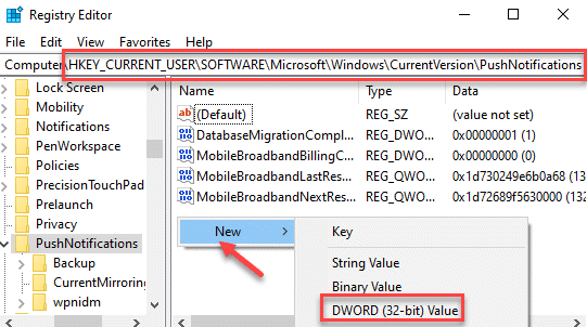 Registry Editor Navigate To Pushnotifications New Dword (32 Bit) Value Min