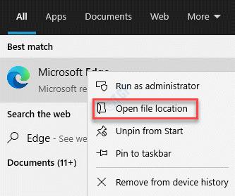 Result Microsoft Edge Open File Location