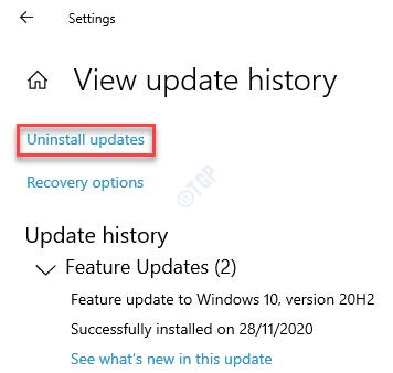Settings Windows Update View Update History Uninstall Updates