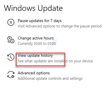 Settings Windows Update View Update History