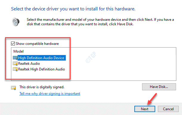 Show Compatible Hardware Check Generic Software Device Or High Definition Audio Device Next