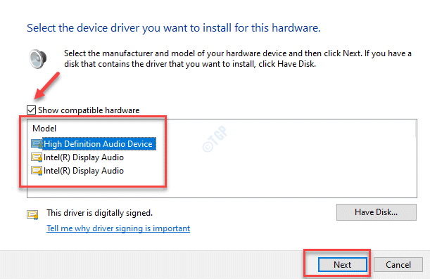 Show Compatible Hardware Check Model Pick Audio Device From List Next