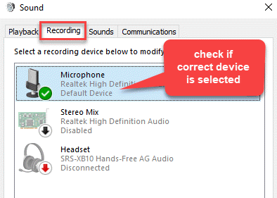 Sound Recording Check If Correct Device Is Selected
