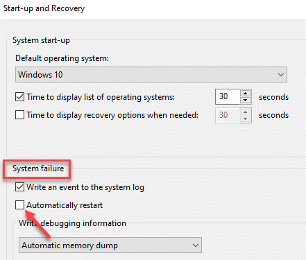 Start Up And Recovery System Failure Automatically Restart Uncheck Ok