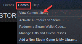 Steam Games Tab View Games Library
