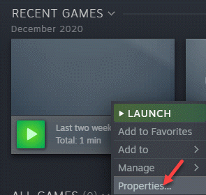 Steam Games Library Problem Game Right Click Properties