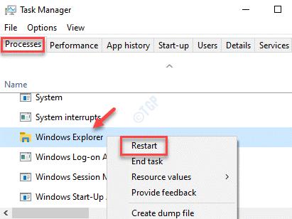 Task Manager Processes Windows Explorer Right Click Restart