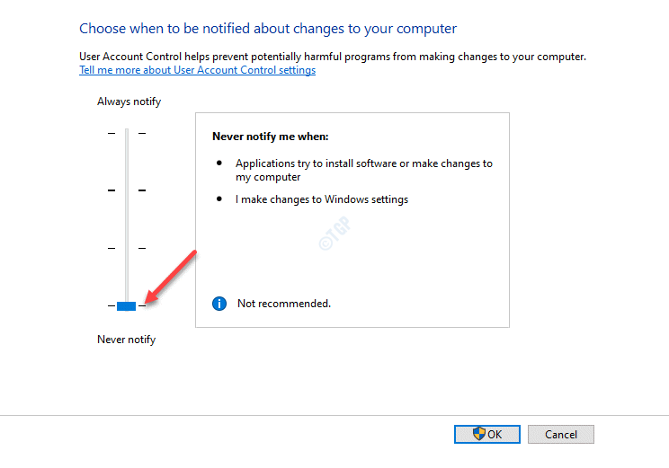 User Account Control Settings Move Slider To Never Notify