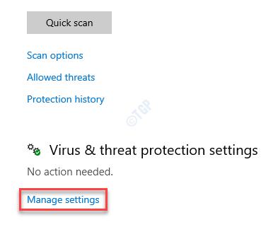 Virus & Threat Protection Manage Settings