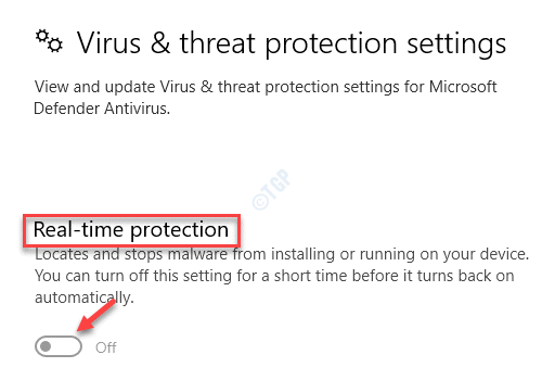 Virus & Threat Protection Settings Real Time Protection Turn Off