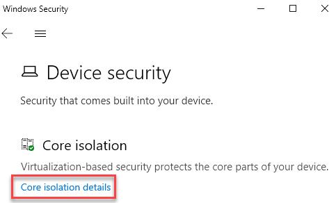 Core Isolation Details Min