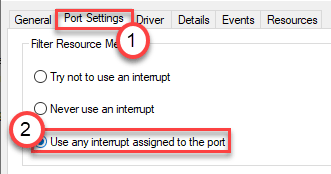 Port Settings Use Any Interupt Assigned Min
