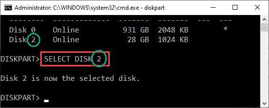 Select Disk 2 Min