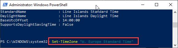 Set Time Zone Powershell Min