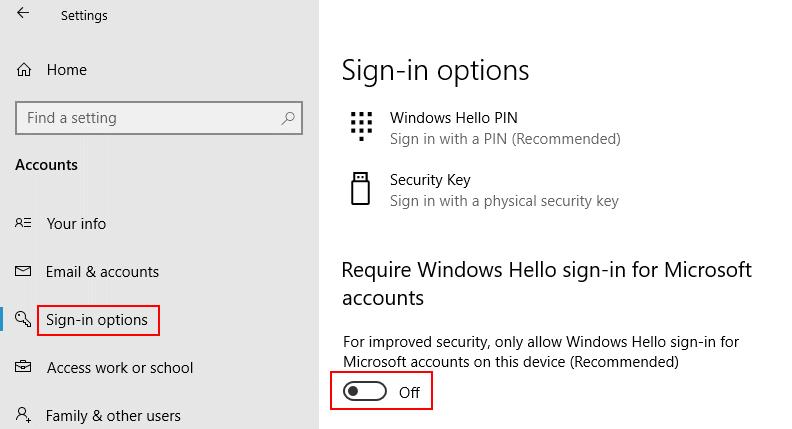 Windows Hello Sign In Option Off Min