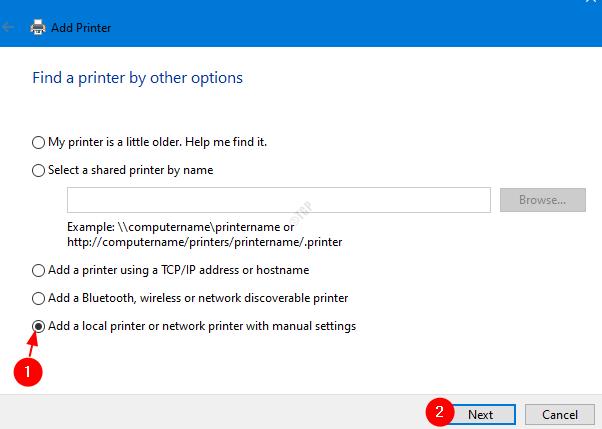 Add A Local Printer Manually