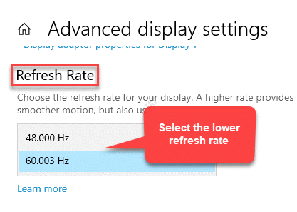 Advanced Display Settings Refresh Rate Seelect Lower Refresh Rate