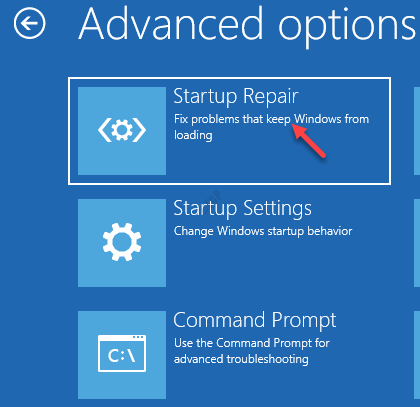 Advanced Options Startu Repair