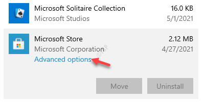 Apps And Features Microsoft Store App Advanced Options