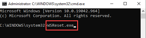 Command Prompt (admin) Run Command To Clear Windows Store Cache Enter
