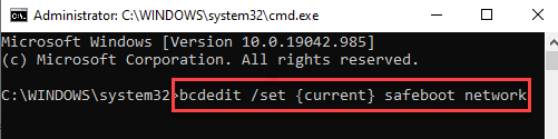 Command Prompt (admin) Run Command For Safe Boot With Networking Enter