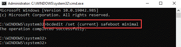 Command Prompt (admin) Run Command For Safeboot Minimal Enter