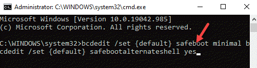 Command Prompt (admin) Run Command To Boot In Safe Mode With Command Prompt