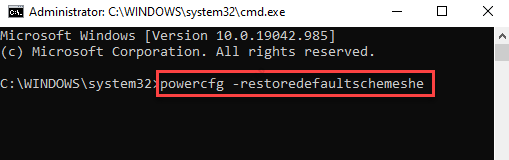Command Prompt (admin) Run Command To Reset Power Plans Enter