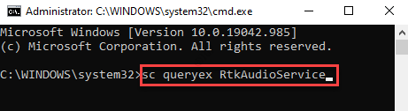 Command Prompt (admin) Run Command With Service Name Enter