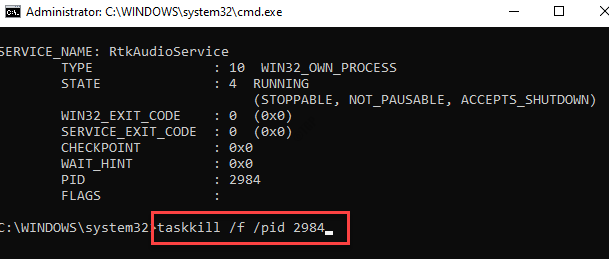 Command Prompt (admin) Run Command With Noted Pid Enter