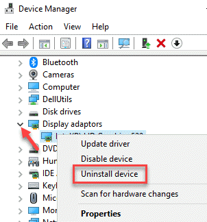 Device Manager Display Adapters Graphics Driver Right Click Uninstall Device