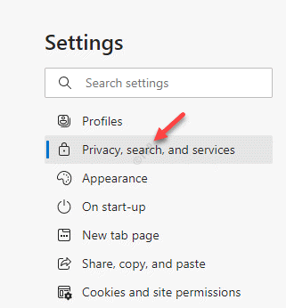 Edge Settings Left Side Privacy, Search, And Services