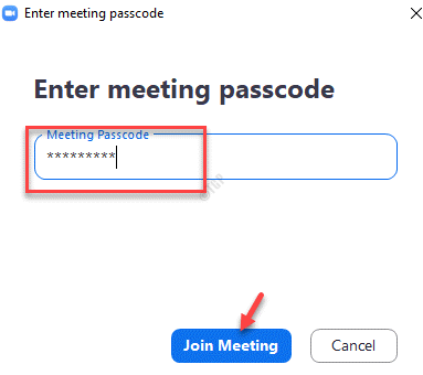 Enter Meeting Passcode Join Meeting