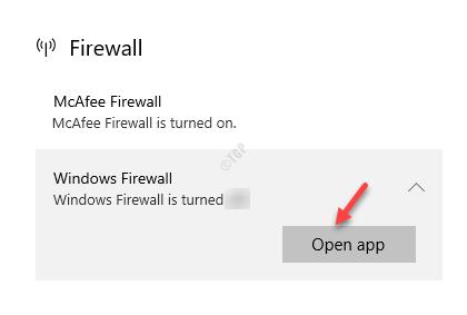 Firewall Windows Firewall Open App