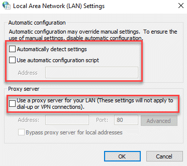 Lan Settings Automatic Configuration Proxy Server Uncheck Ok