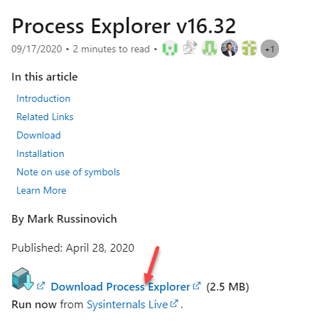 Microsoft Official Link For Process Explorer Download Prorcess Explorer