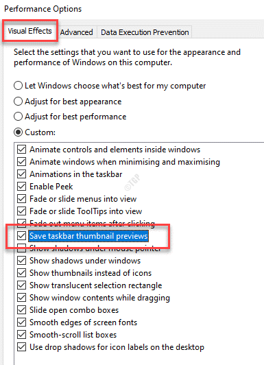 Performance Options Visual Effects Save Taskbar Thumbnail Previews Check