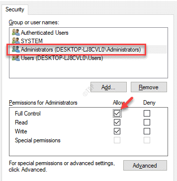 Permissions Group Or User Names Permissions For Administrators Allow Check