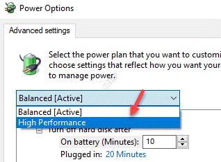 Power Options Advanced Settings High Performance
