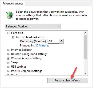 Power Options Advanced Settings Restore Plan Defaults